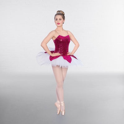 1st Position 1 Sleeved Sequin Mesh Unitard with Separate Tutu Gold//Black