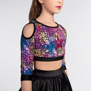 Cold Shoulder Multi Crop Top And Skirt 2 Piece