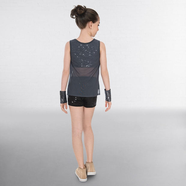 Sequined Unisex Urban Top With Mesh Overlay