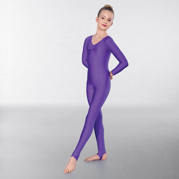 Claire Long Sleeved Ruched Front Stirrup Catsuit