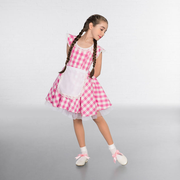 Checked Lace Trimmed Dress With Apron