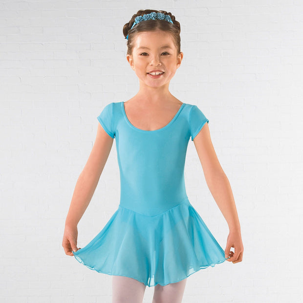 Voile Skirted Cap Sleeved Leotard