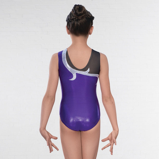 Karina Asymmetric Mesh Sleeveless Leotard