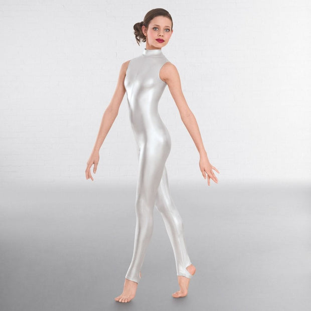 Mylie Sleeveless Foil Stirrup Catsuit