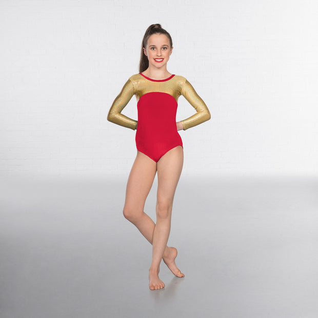 Alexa Velour Hologram Long Sleeved Leotard