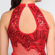Flame Sequin Keyhole Back Catsuit
