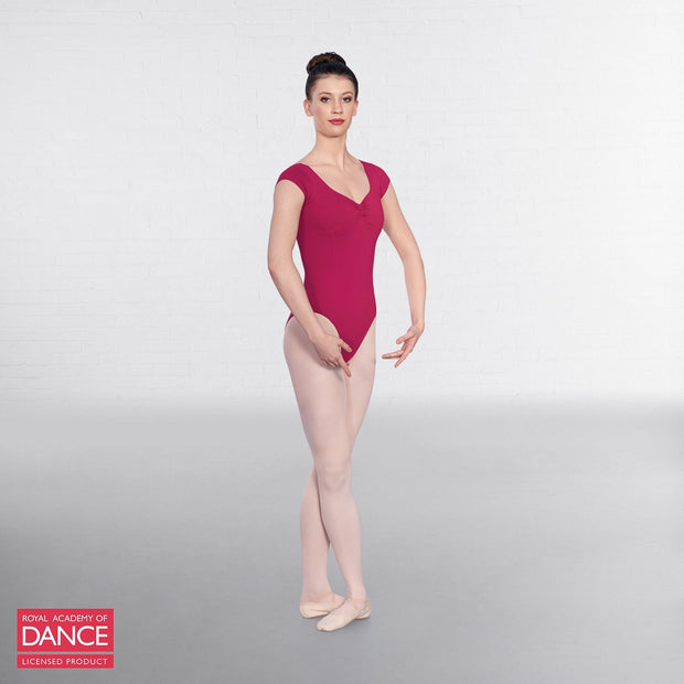 Cap Sleeved Ruched Front Leotard