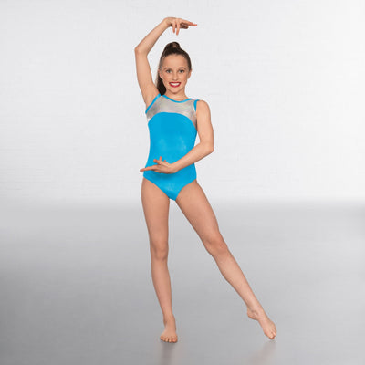 Taylor Velour Hologram Sleeveless Leotard