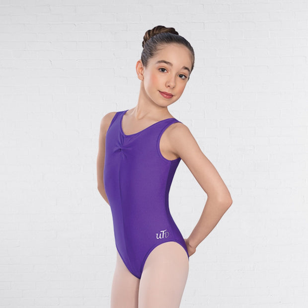 Angela Sleeveless Ruched Front Leotard
