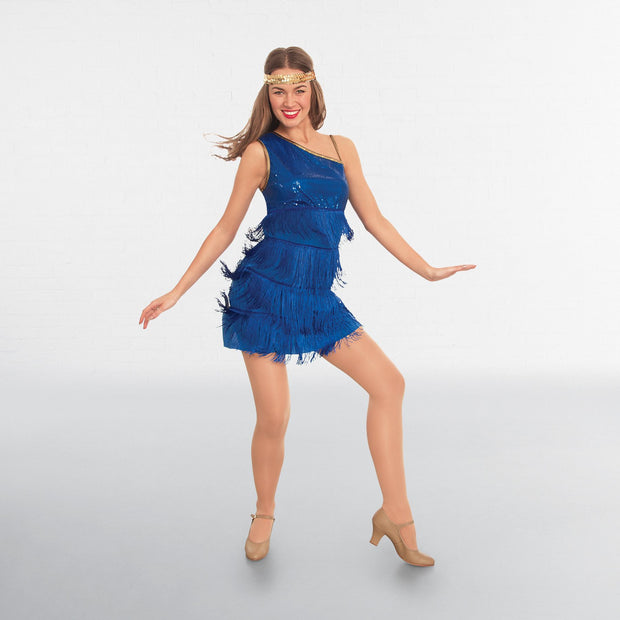 Adult Blue Sequined Flapper Dress