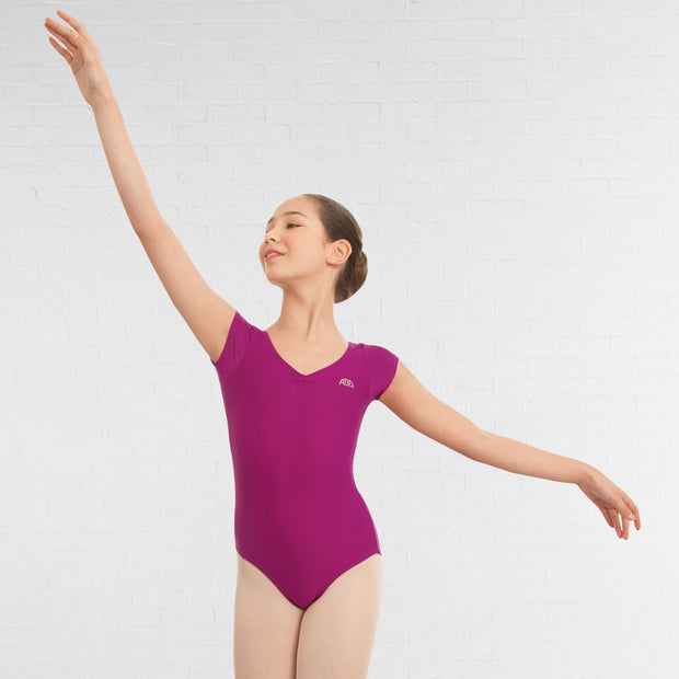 Ruched Front Cap Sleeved Leotard