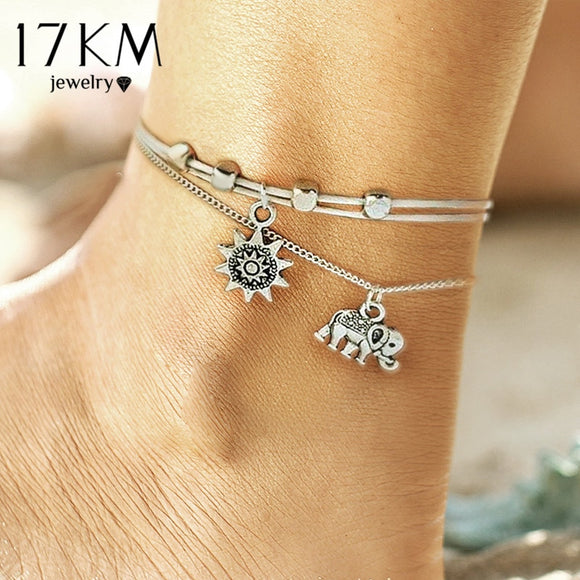 17KM Fashion Sun Elephant Anklet Set For Women Vintage Beach Foot jewelry Statement Anklets Boho Style Party Bohemian Jewelry
