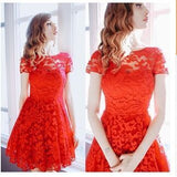 2018 Fashion Women Elegant Sweet Hallow Out Lace Dress Sexy Party Princess Slim Summer Dresses Vestidos Red Blue S-5XL Plus Size - ZepDeals.com
