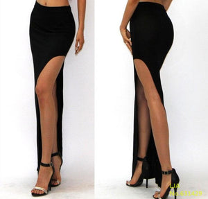 2018 New Fashion Charming Sexy Women Lady Long Skirts Open Side Split Skirt Long Maxi Skirt Black - ZepDeals.com