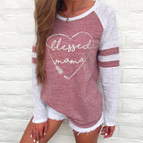 2018 hot sale Women Ladies Long Sleeve Vintage Print blessed mama Tops Patchwork T Shirt dropshipping Jun 5 - ZepDeals.com