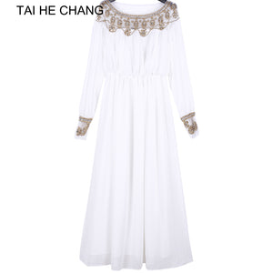 2018 women new fashion elegant vestidos formal korean runway white party long maxi spring summer dress long sleeve autumn - ZepDeals.com