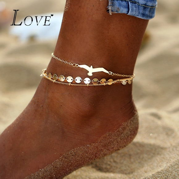 3PCS/Lot Bohemian Eagle Sequins Anklets For Women - ZepDeals.com