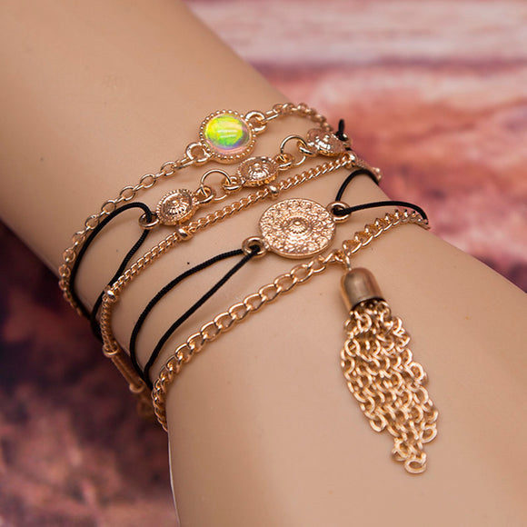 Fashion Jewelry Bohemia Pineapple/Circle Dots Set Alloy Bracelets & Anklet For Women Tibetan Jewelry Pulseiras Para As Mulheres
