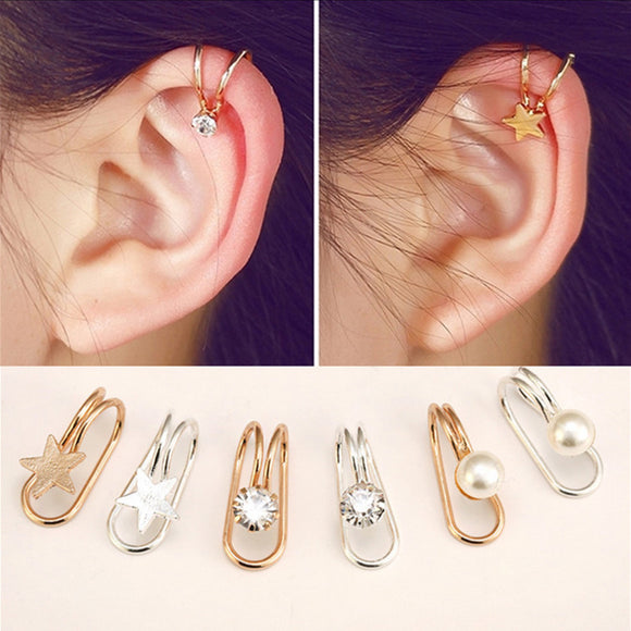 Fashion Multi-style trend Women's U-shaped earrings Earless ear clip Heart shaped butterfly moon Feminine earrings Jewelry