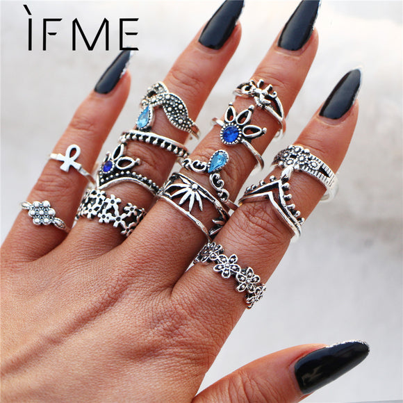 IF ME Bohemian Flower Ring Sets for Women Vintage Retro Silver Color Lotus Stone Blue Crystal Rings Finger Jewelry 2018 New Gift