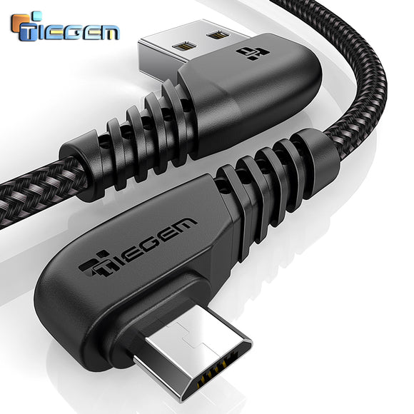 TIEGEM 90 Degree Micro USB Cable 2A Fast Charger Data Cable Braided USB Cable Mobile Phone USB Charger Cable For Samsung Huawei