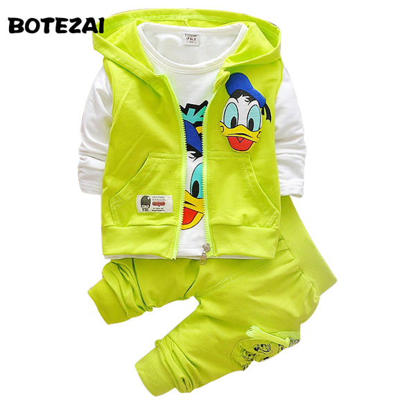 2017 Boys Clothes Suits Cartoon Donald Duck Baby Kids Boys Outerwear Hoodie Jacket Baby Sport Boys Clothing Sets Suits - ZepDeals.com