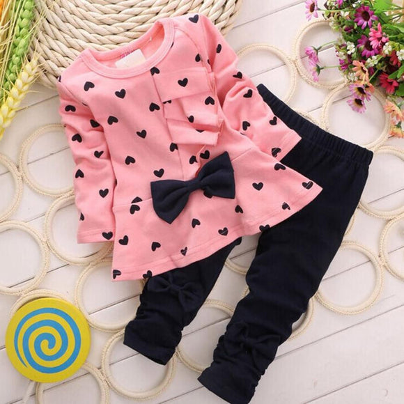 Baby Girls clothing Sets Heart-shaped Print Bow Cute 2PCS Kids Set T shirt + Pants Love Bowknot Girls Clothing Set - ZepDeals.com