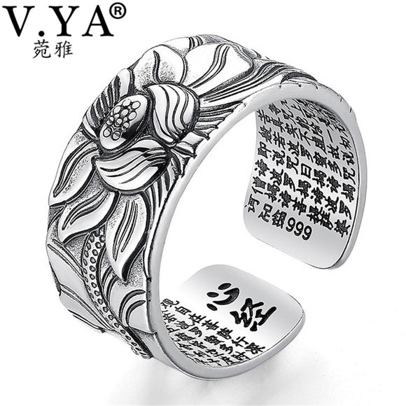 Pure Silver Jewelry Lotus Flower Open Ring For Men Male Fashion