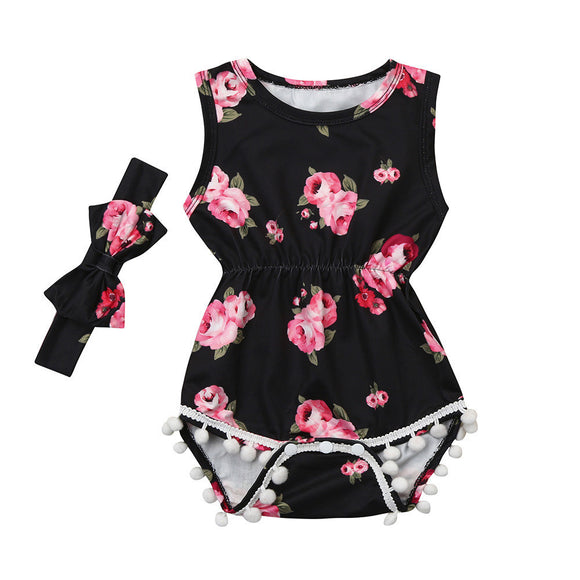 2Pcs Baby Girls Infant Floral Tassel Jumpsuit Romper+Headband Set Clothes - ZepDeals.com