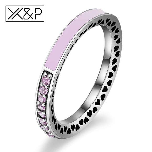 Radiant Hearts Light Pink Enamel Clear Ring Jewelry