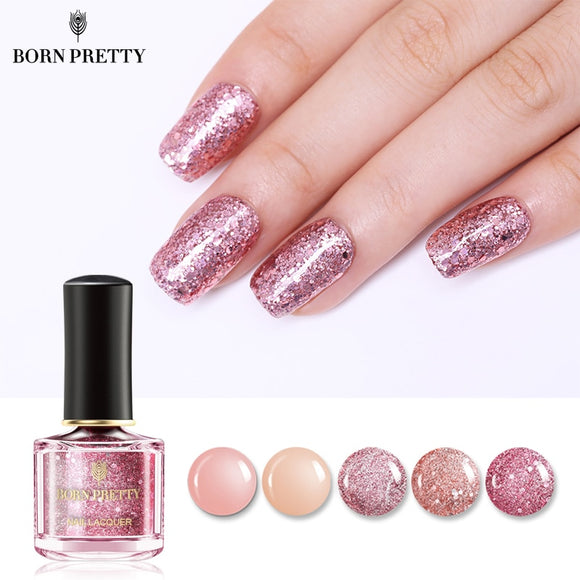 BORN PRETTY Rose Gold Series Nail Polish 6ml Pink Nude Pure Color Varnish Glitter Sequins Nail Art Lacquer - ZepDeals.com