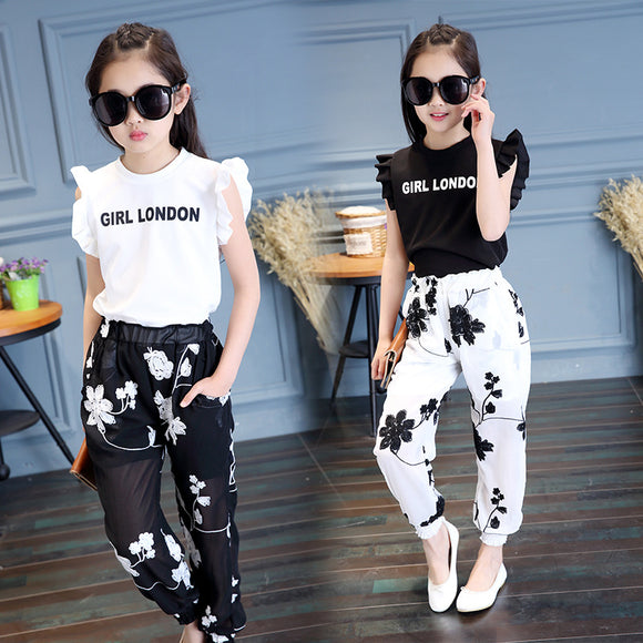 Baby  Girls' Clothing 2018 Summer New Style Fashion Embroidery Flower T-shirt + Mesh Trousers Sweet Trend Two Sets - ZepDeals.com