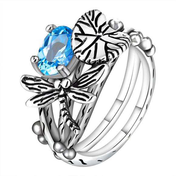 Lotus Leaf Dragonfly Party Ring-Blue