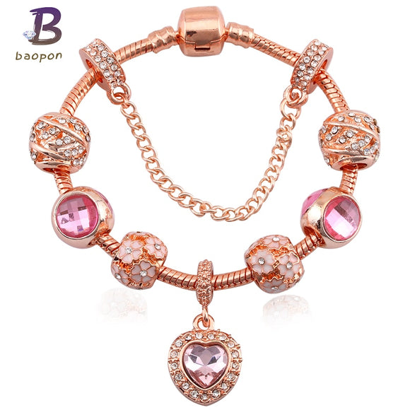 BAOPON Fashion Jewelry Crystal Heart Beads Fine Bracelet for Women Gold European DIY Charm Bracelets & Bangles Pulseira - ZepDeals.com