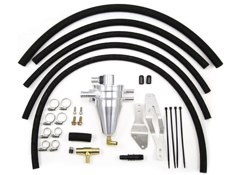 Killer B 02-07 WRX/STi GD Air/Oil Separator (Complete Kit w/Hosing + Clamps) - Powdercoated Black