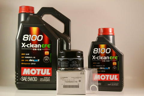 Motul 5w30 X-CLEAN EFE Oil Change Package w/ OEM Oil Fitler & Crush Washer