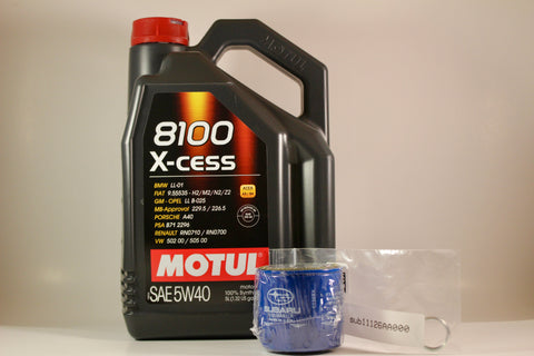 Motul 8100 5w40 X-CESS Oil Change Package w/ OEM Oil Filter and Crush Washer