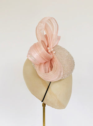 Beaded Aurelia - Blush Pink Percher Hat