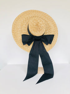 oversized natural straw extra large boater hat with large black moire ribbon bow with long tails