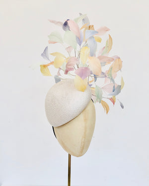 ivory teardrop straw pillbox fascinator hat with rainbow multi coloured feather spray