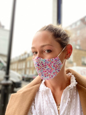 liberty 'phoebe' print facemask with nose wire and water repellant layer