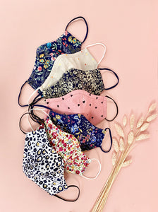 triple layer fitted face masks, 100% cotton, hearts, leopard, spots, floral, navy