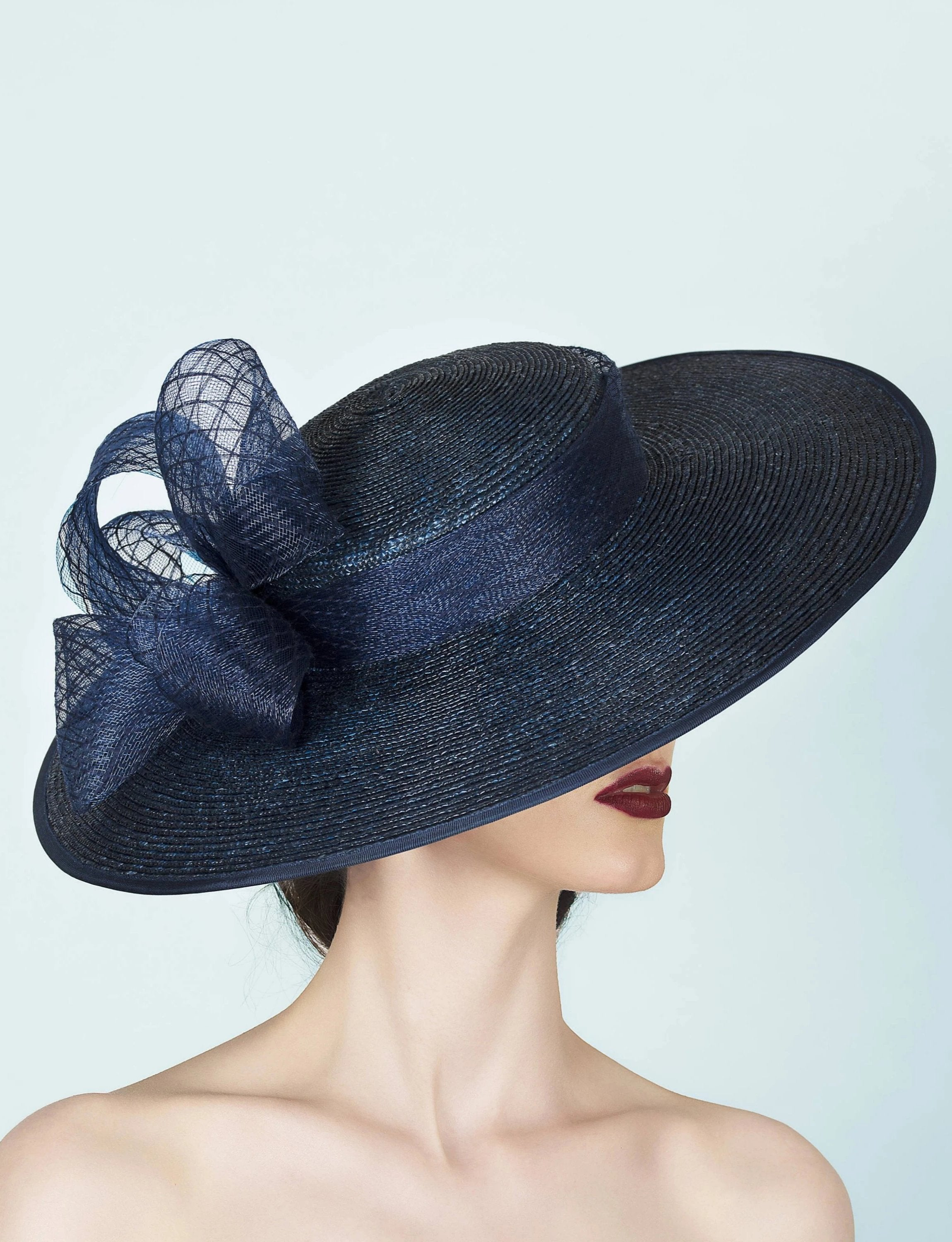 navy blue wide brimmed straw boater hat for royal ascot wedding guest