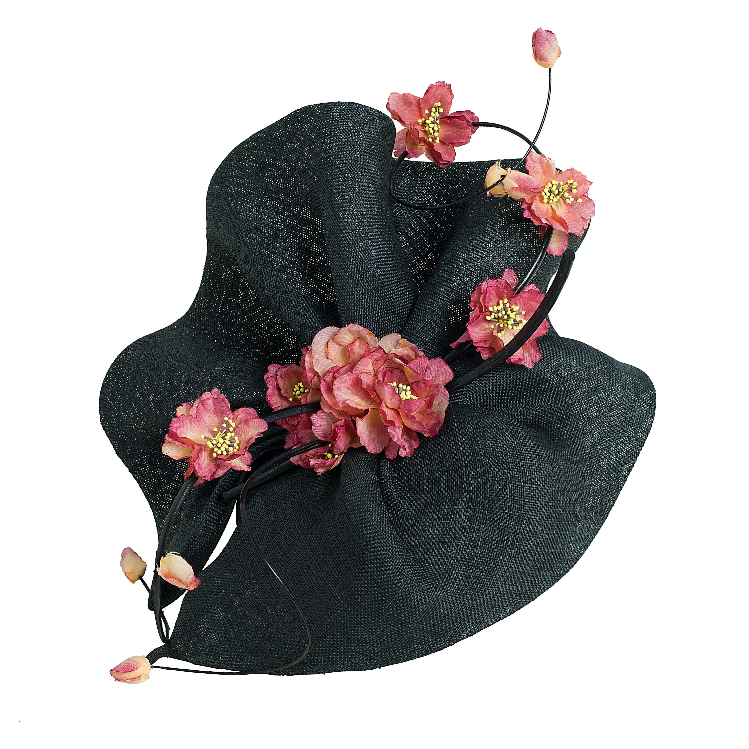 black wavy fascintor hat, with pink flowers, ideal for royal ascot