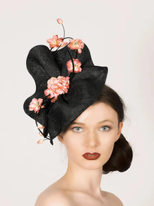 black fascinator percher hat, with pink cherry blossom flowers, ideal for roayl ascot