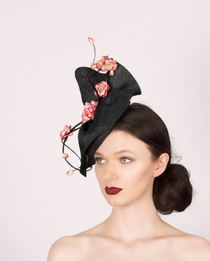 black fascinator hat, with pink flowers, idela for royal ascot, wedding guest