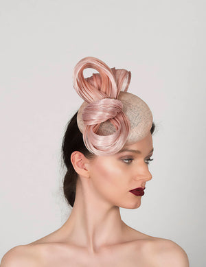 blush pink pillbox fascinator hat, perfect for wedding guest or royal ascot
