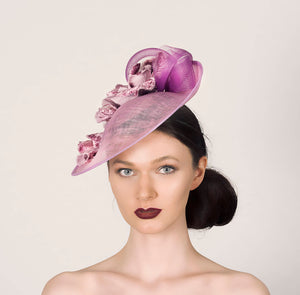 heather pink small disc saucer fascinator wedding hat, with heather crin and velvet rose flowers
