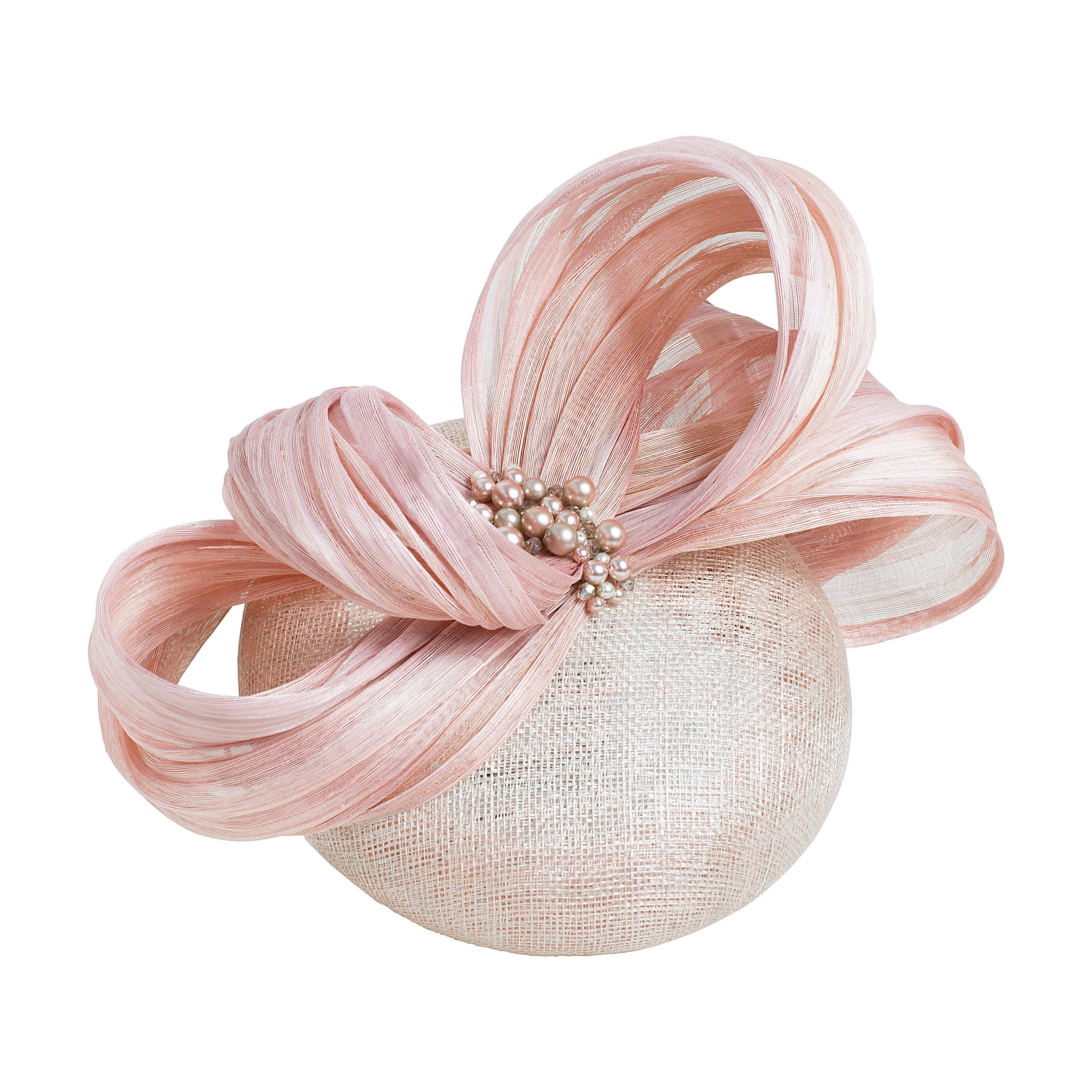 blush pink pillbox fascinator hat, ideal for wedding guest or royal ascot