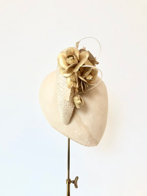 ivory straw halo crown padded headband, kate middleton style, with gold metallic fabric flowers